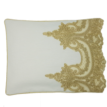 Load image into Gallery viewer, Exclusive Gold Lace Pillowcase, Ivory Ottoman