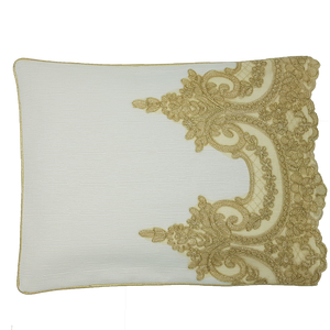 Exclusive Gold Lace Pillowcase, Ivory Ottoman