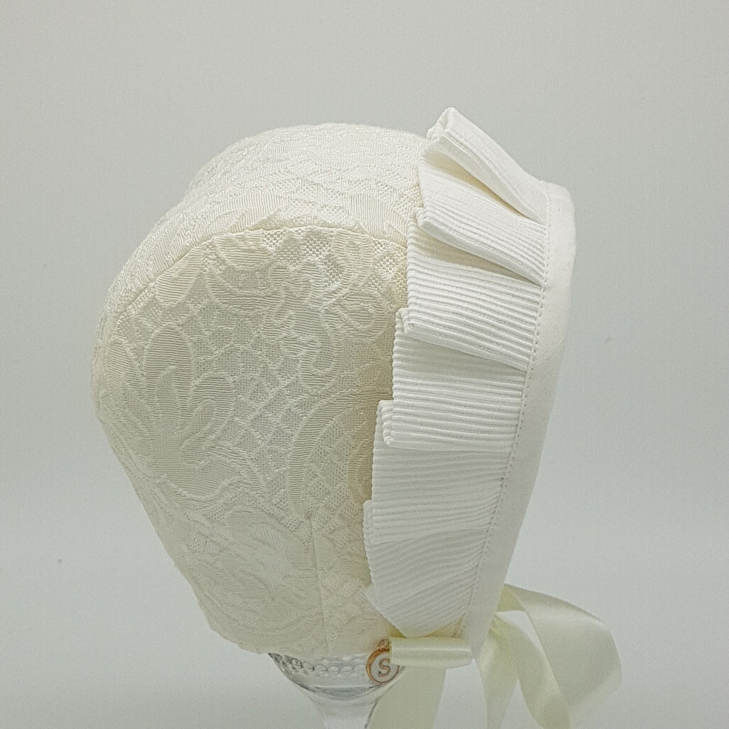 Exclusive Bonnet, Cream Brocade, cap style with pleated frill