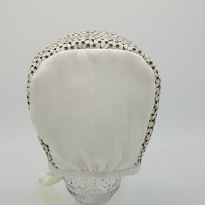 ** SOLD OUT **  Exclusive Bonnet, Cream Leather flowers