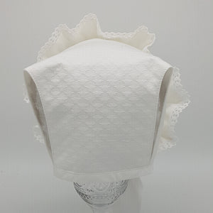 Exclusive Bonnet, White Jacquard / T-Bar Style