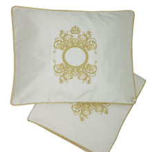 Load image into Gallery viewer, 'The Crown is Hers' Embroidered Wrap & Pillowcase Set, Gold on White Silk