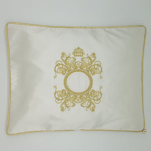 'The Crown is Hers' Embroidered Wrap & Pillowcase Set, Gold on White Silk