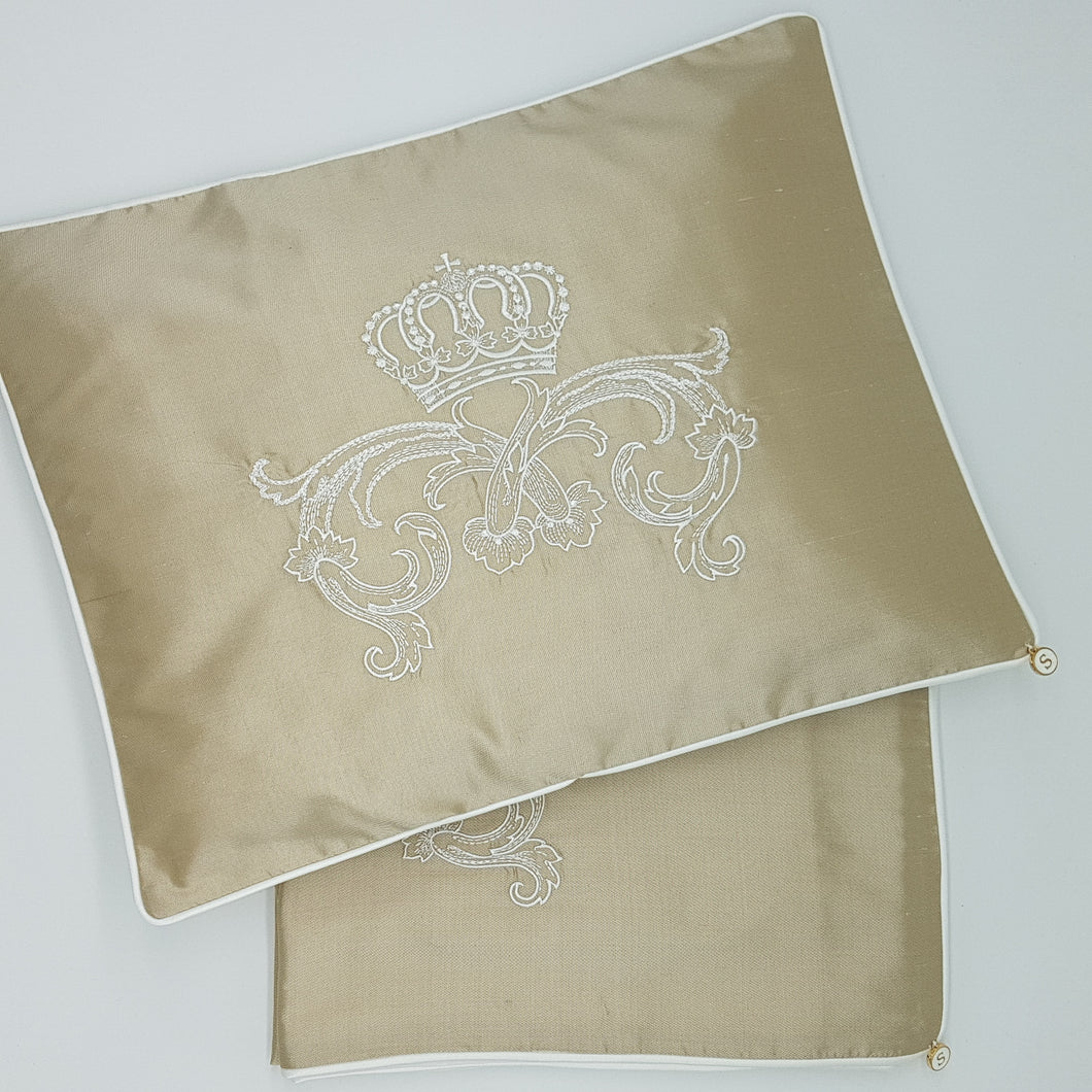 Limited Edition Baby Wrap and Pillowcase Set, Coffee Silk with cream embroidery
