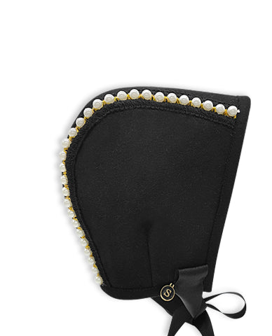 Exclusive Black Wool Bonnet with Ivory Bead Trim