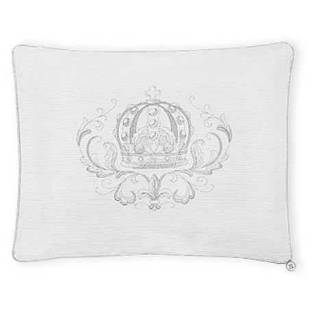 Scrolly Crown' Pillowcase - Greys on White