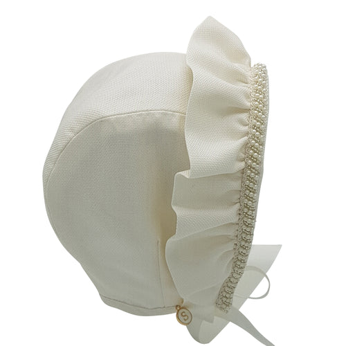 Exclusive Bonnet, Ivory Silk, Cap style with frill and pearl trim