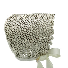 Load image into Gallery viewer, ** SOLD OUT **  Exclusive Bonnet, Cream Leather flowers