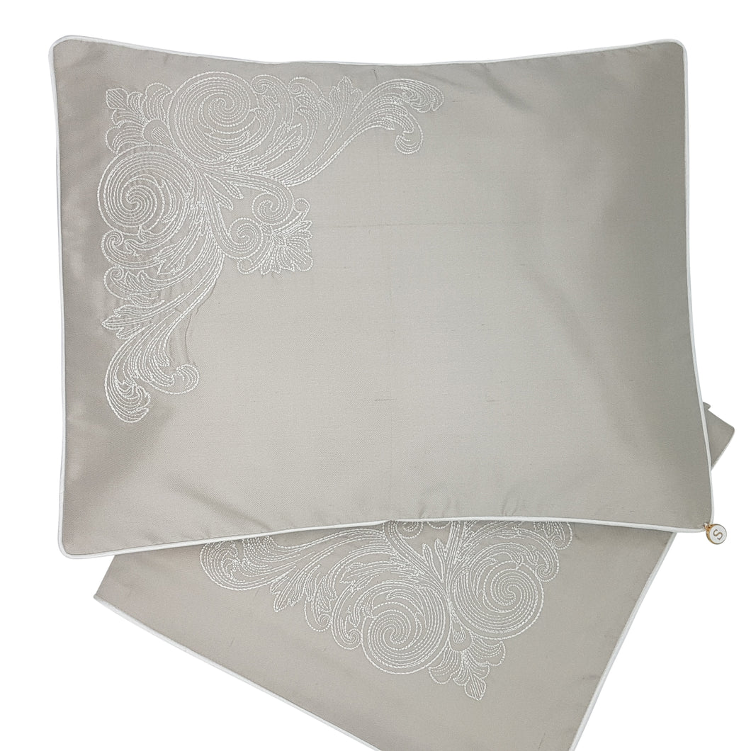 Limited Edition Wrap and Pillowcase Set, Soft Grey Silk with Cream Embroidery