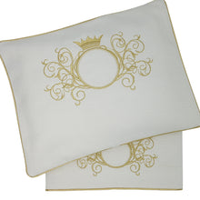 Load image into Gallery viewer, 'Gold Splendour' 2pc Embroidered Bassinet Sheet Set, Gold on Ivory