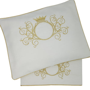 'Gold Splendour' 2pc Embroidered Bassinet Sheet Set, Gold on Ivory