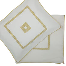 Load image into Gallery viewer, 'Square Greek Key' Embroidered Wrap & Pillowcase Set