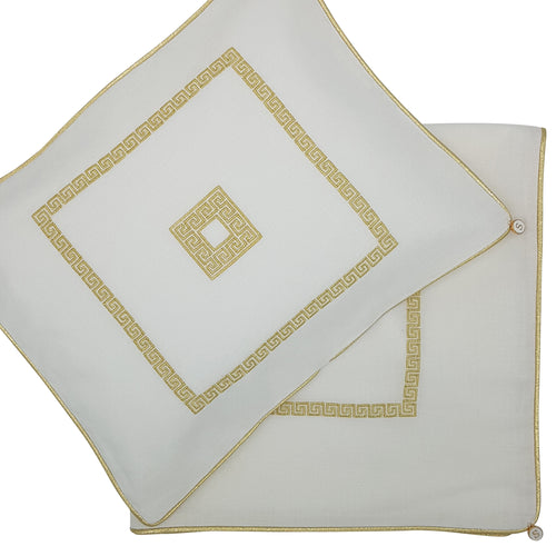 'Square Greek Key' Embroidered Wrap & Pillowcase Set