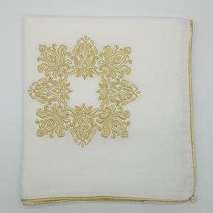 'Golden Damask' Embroidered Wrap & Pillowcase Set