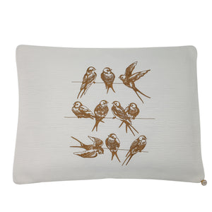 'Birds on a highline' Embroidered Pillowcase, Coffee on Ivory