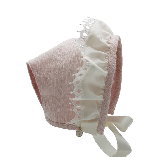 Exclusive Bonnet, Pink Slub T-Bar style with crown frill