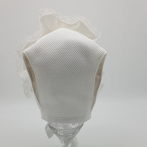 Exclusive Bonnet, White Jacquard T-Bar Style with frill & cluny lace