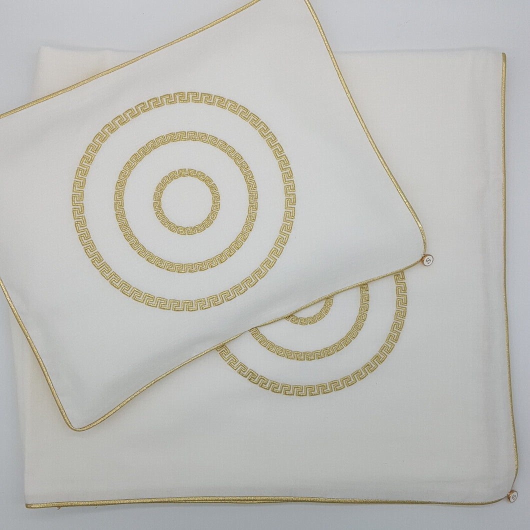 'Circle Greek Key' Embroidered Wrap & Pillowcase Set