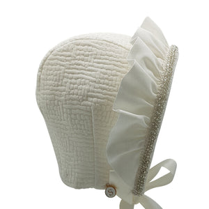 Exclusive Bonnet, Ivory Jacquard Cap Style with frill and bead trim