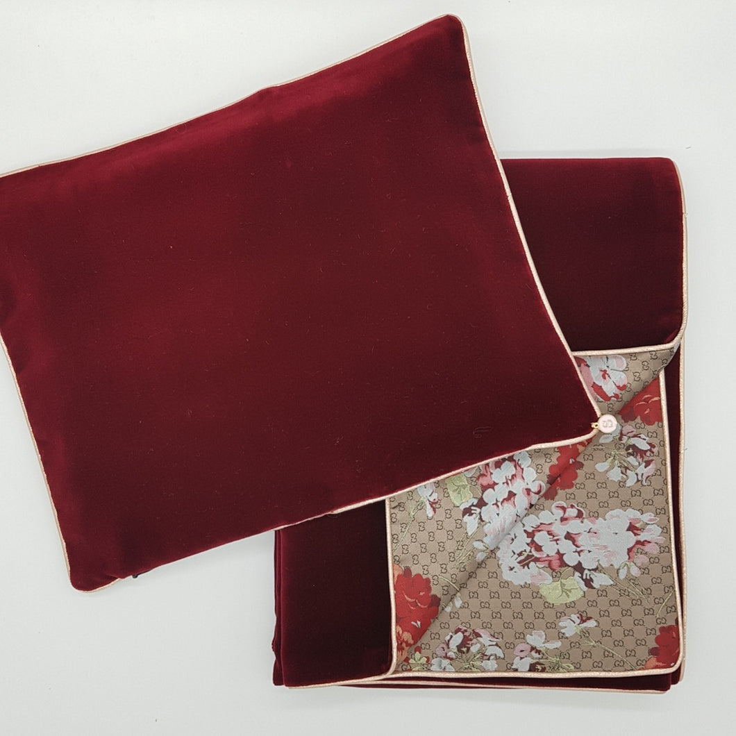 ** SOLD OUT ** Limited Edition Baby Wrap & Pillowcase Set, Wine Velvet with floral