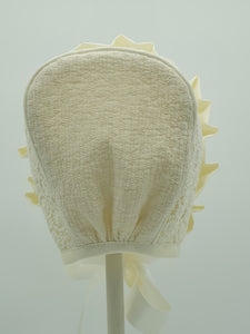 Exclusive Bonnet, Cream Snowflake lace with frill