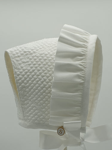 Exclusive Bonnet, White Mattelasse T-Bar Style Bonnet