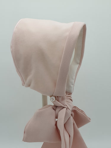 Exclusive Bonnet, Soft Cotton Velvet with wide ties