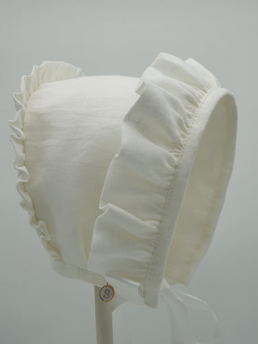 Small Dreams Exclusive Bonnet,  White Linen with embroidery