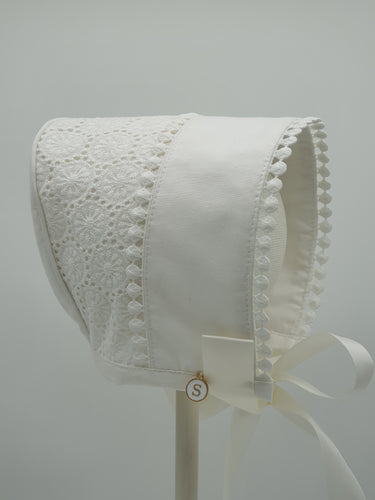 Exclusive Bonnet,  Ivory Cotton Broderie with lace trim