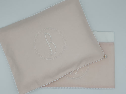 2pc Bassinet Sheet Set, Personalised Embroidery on Linen
