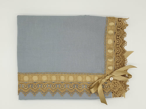 Limited Edition Linen Wrap & Pillowcase Set, Duck Egg Blue with Gold