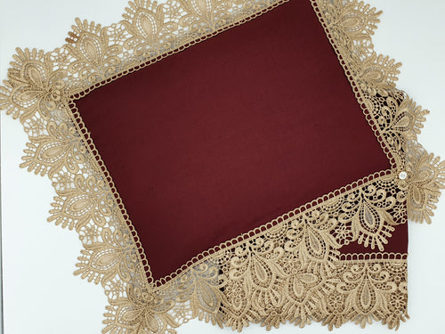 Limited Edition Maroon Linen Wrap & Pillowcase Set, Champagne Lace Trim