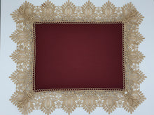 Load image into Gallery viewer, Limited Edition Maroon Linen Wrap & Pillowcase Set, Champagne Lace Trim