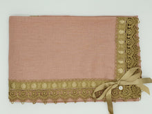 Load image into Gallery viewer, Limited Edition Linen Wrap & Pillowcase Set,  Vintage Rose with Gold