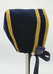 Exclusive Bonnet,  Navy Velvet with Gold Braid