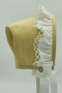 Exclusive Bonnet, Lemon T-Bar Style with white frill