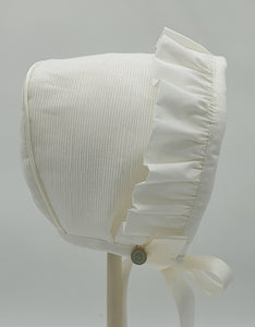 Exclusive Bonnet, Ivory Ottoman with embroidered swan