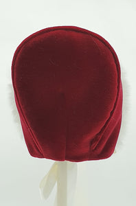Exclusive Bonnet, Maroon Velvet with Ivory Fur brim