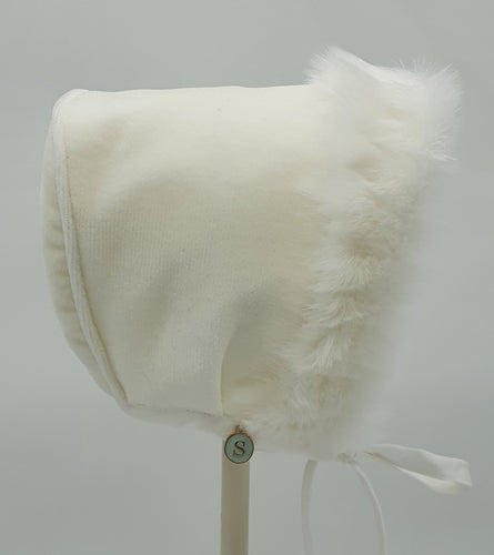 Exclusive Bonnet, Ivory Velvet with Ivory Fur Brim