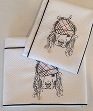 Load image into Gallery viewer, 'Burberry Spaniel' 2pc Embroidered Cot Sheet Set, White