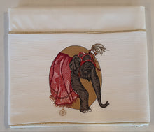 Load image into Gallery viewer, 'Elephant Sunset' 2pc Embroidered Cot Sheet Set, Ivory