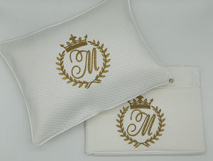 2pc Bassinet Sheet Set, Monogrammed Crown on White Jacquard