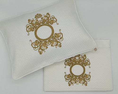 'The Crown is Hers' 2pc Bassinet Sheet Set,  Gold Embroidery on White Jacquard
