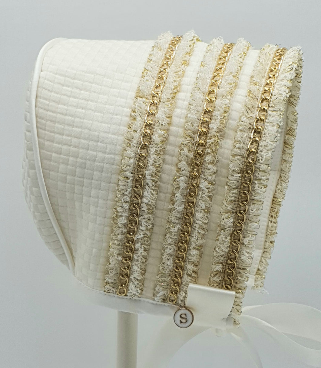 Exclusive Bonnet, Ivory Checkerboard Jacquard with Gold Chain Trim