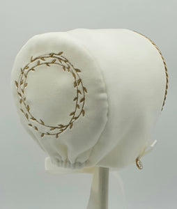 Exclusive Bonnet, Cream Velvet with Gold Embroidery & Trim