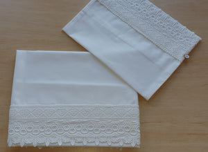 2pc Ivory Lace Bassinet Sheet Set, Ivory Cotton Lace