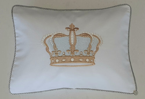 'Rightly Royal' Embroidered Pillowcase, Soft Gold & Duck Egg Embroidered on White