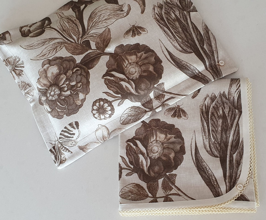 'Floral Memories' Organic Cotton Baby Wrap & Pillowcase Set
