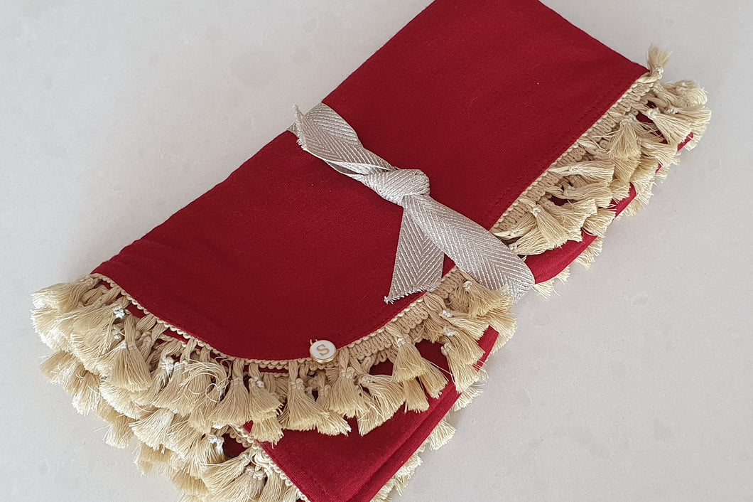 Exclusive Blood Red Merino Baby Wrap, Champagne Tassels