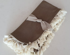 Exclusive Hazelnut Merino Baby Wrap, Cream Tassels